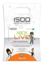 Xbox Live 1500 Points Card